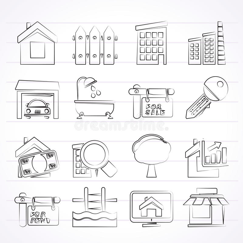 Real Estate ikony royalty ilustracja