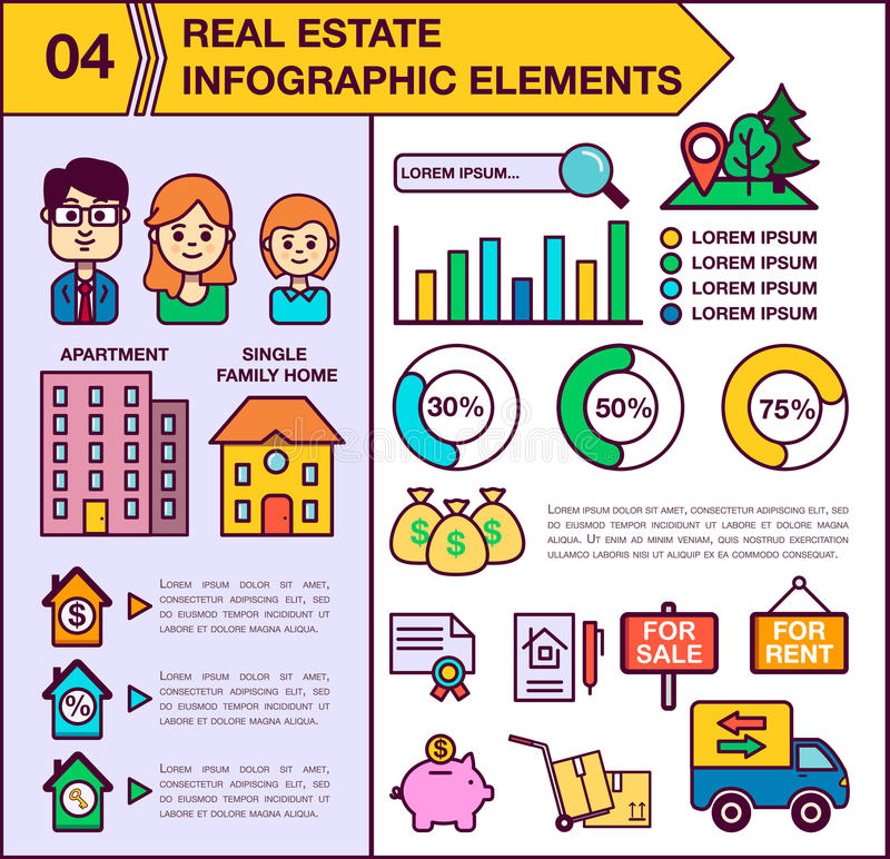 Real Estate infographic template and elements. The template includes illustrations of men, women and child. Modern. Colored flat vector design. Apartment vector illustration