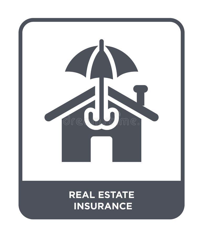 real estate insurance icon in trendy design style. real estate insurance icon isolated on white background. real estate insurance stock illustration