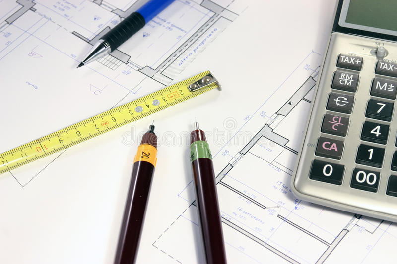 Real estate investing evaluetion. Office situation plannning investment and building project stock photo