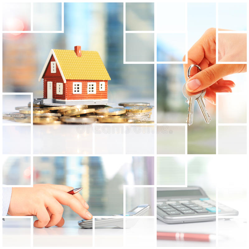 Real estate investment. Collage. Mortgage conceptual picture stock photography