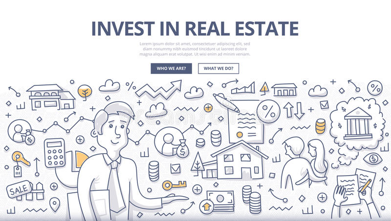 Real Estate Investment Doodle Concept stock illustration
