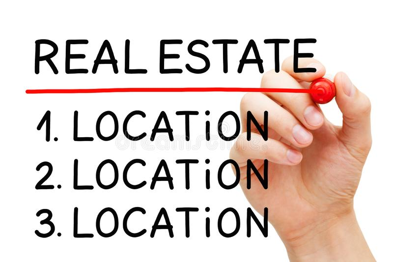 Real Estate Investment Factor Location Concept. Hand writing a concept about the three most important things in Real Estate investing - Location, Location royalty free stock photography