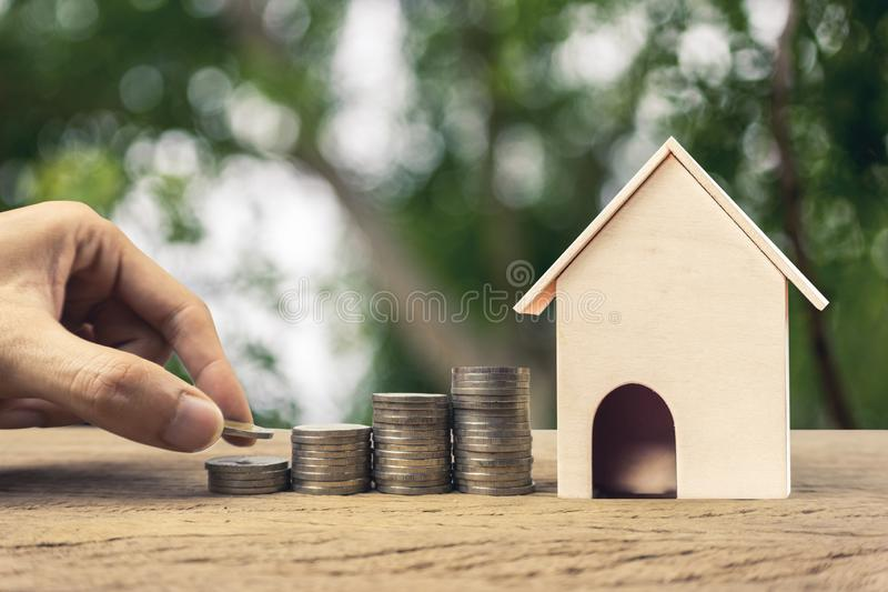 Real estate investment, Fundraising, Money savings for buy house, home loan, mortgage reverse concepts stock photography