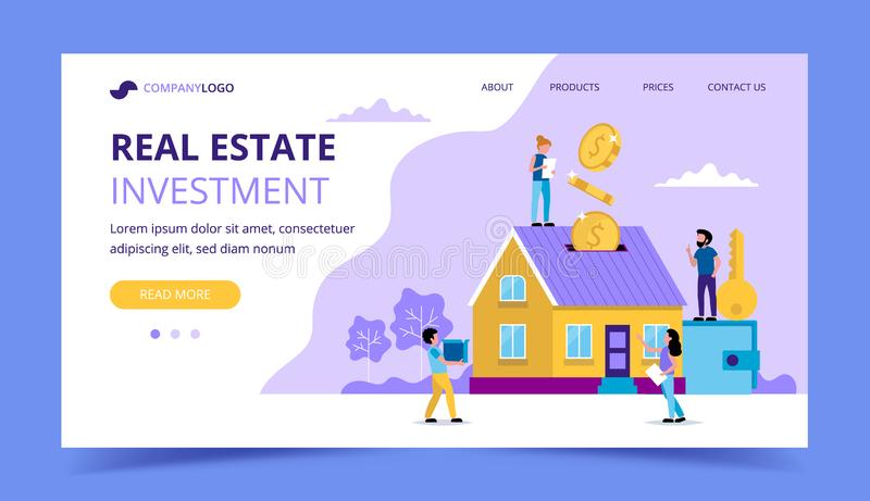 Real estate investment landing page - concept illustration for investing, buying house, coins falling in the house. Piggy-bank. Small people. Vector stock illustration