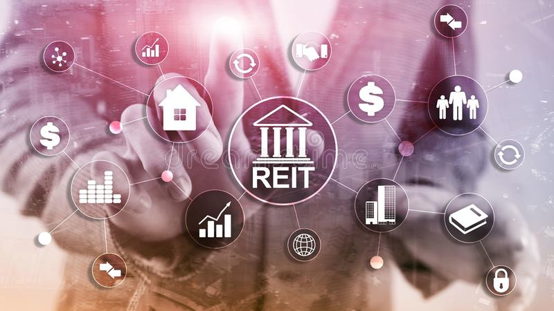 Real Estate Investment Trust REIT on double exsposure business background stock illustration