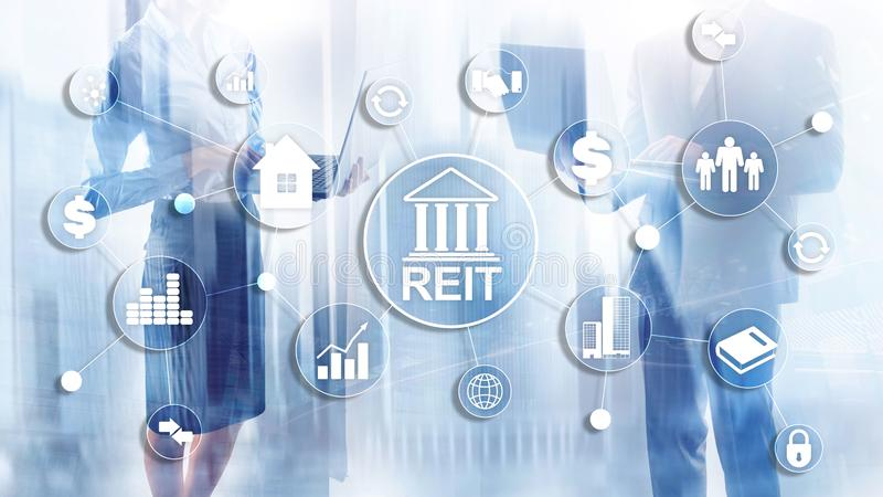 Real Estate Investment Trust REIT on double exsposure business background vector illustration