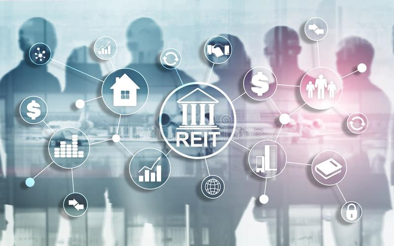 Real Estate Investment Trust REIT on double exsposure business background. stock photos