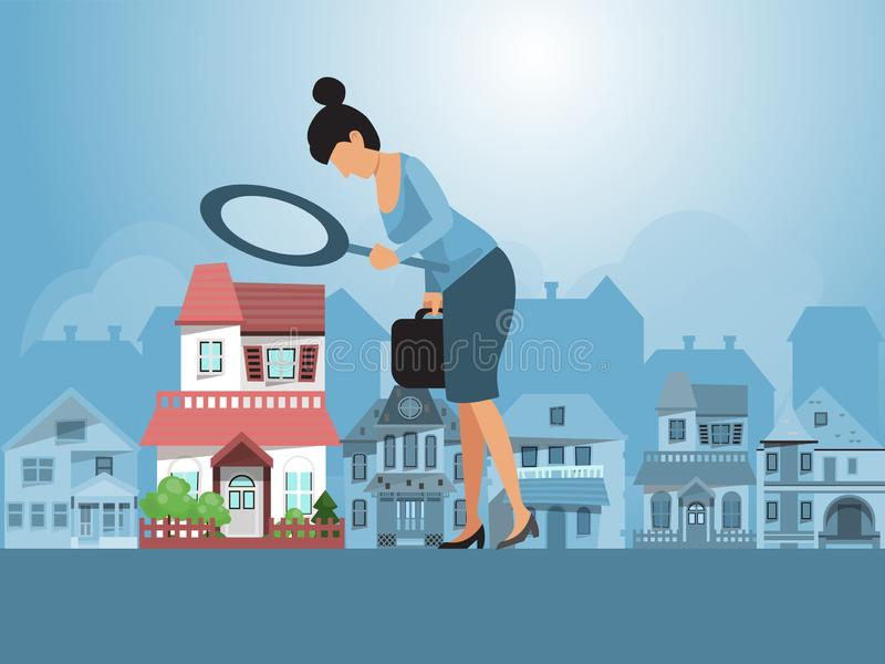 Real estate investments vector illustration. Real estate agent inspecting a house with magnifier. Business woman with. Real estate investments vector stock illustration