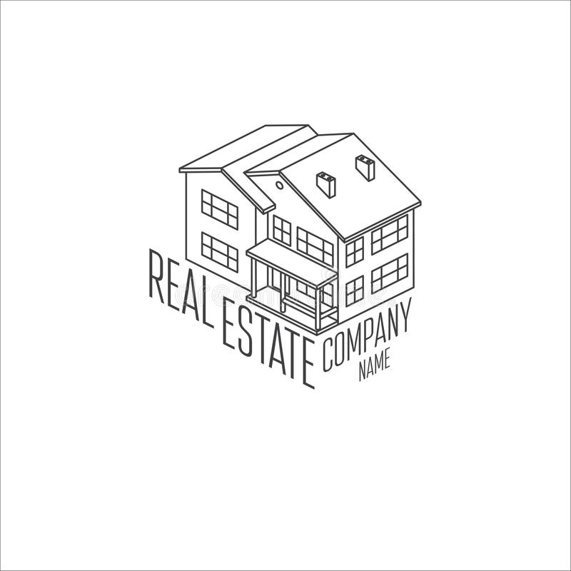 Real estate isometric logo icon. For web design and application interface royalty free illustration