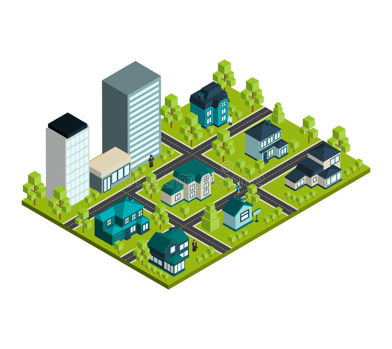 Real Estate isometrisch stock abbildung