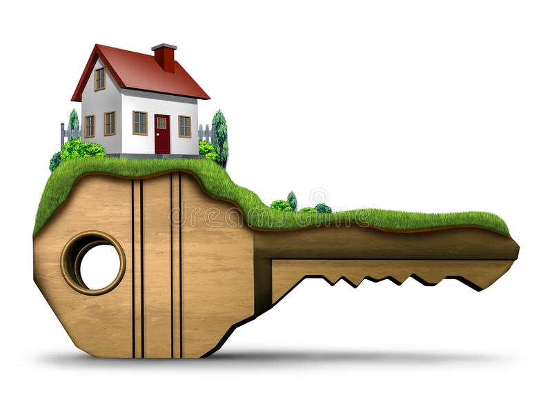Real Estate Key. Family home symbol and house security concept as a 3D illustration on a white background vector illustration