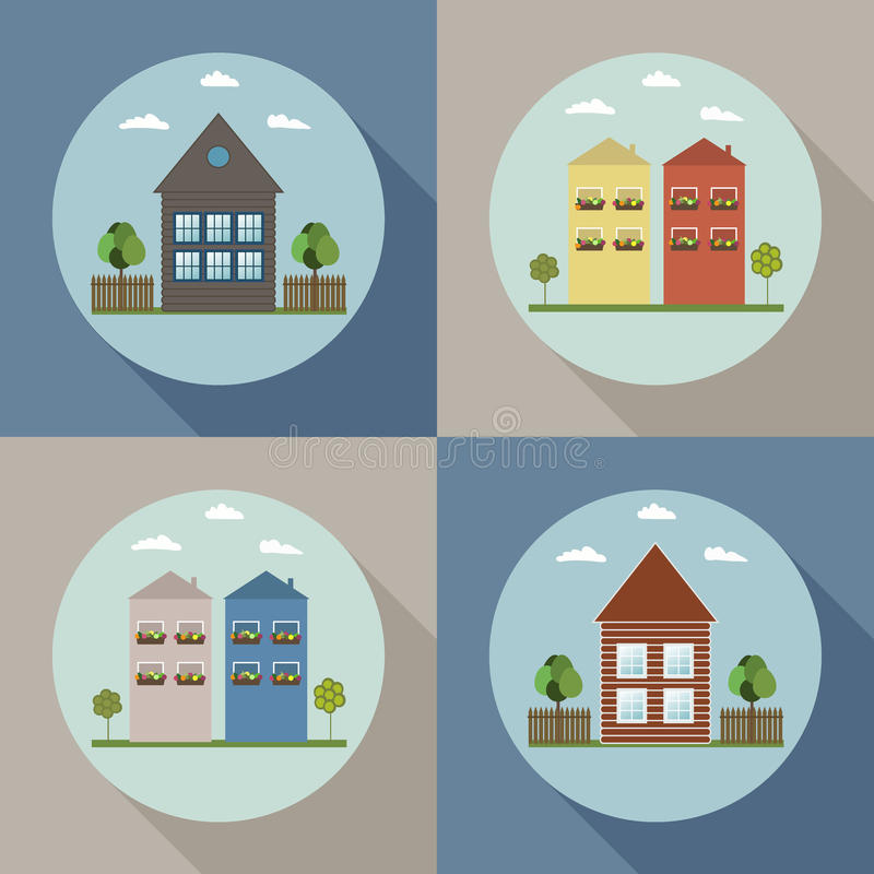 Real Estate-Konzept: Häuser für Verkauf/Miete lizenzfreie abbildung