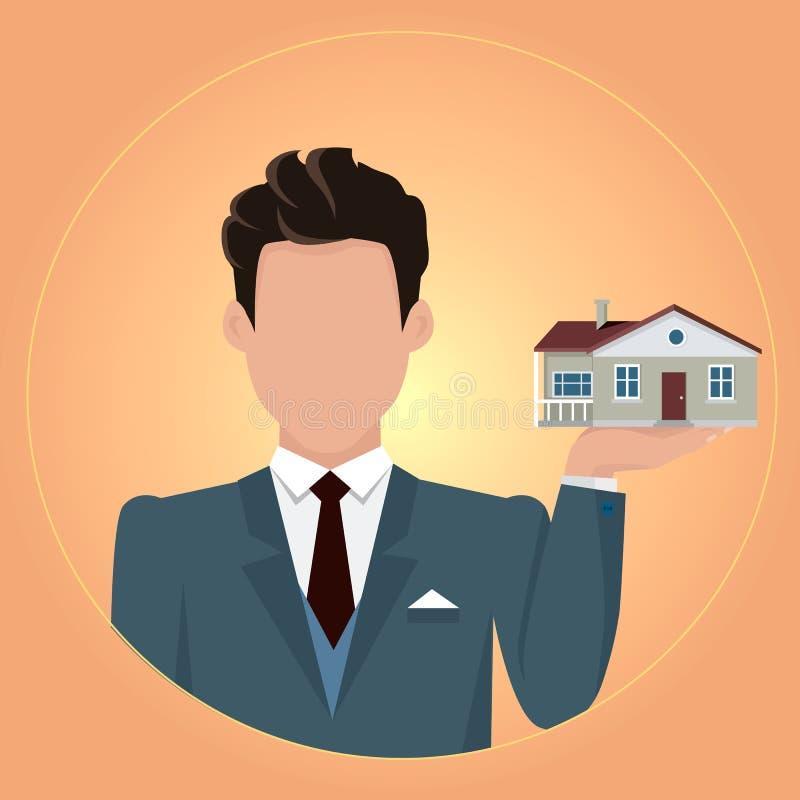 Real Estate-Konzept-Illustration im flachen Design lizenzfreie abbildung