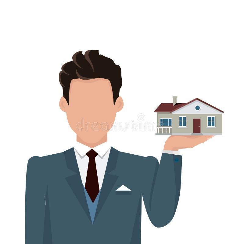 Real Estate-Konzept-Illustration im flachen Design stock abbildung