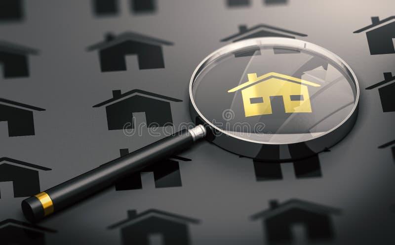 Real Estate-Konzept, Immobiliensuche und ein goldenes einzigartiges Haus stock abbildung