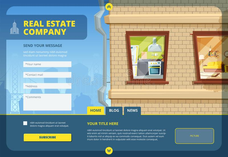 Real estate landing. Find your apartment or commercial building layout template with urban city landscape and web forms royalty free illustration