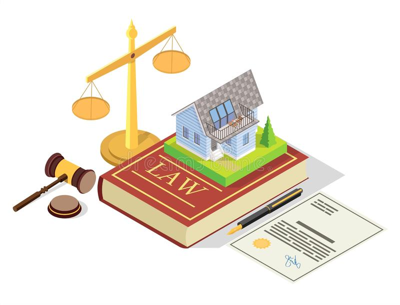Real estate law vector concept isometric illustration. Estate law vector concept illustration. Isometric juridical symbols Law book with house real estate stock illustration
