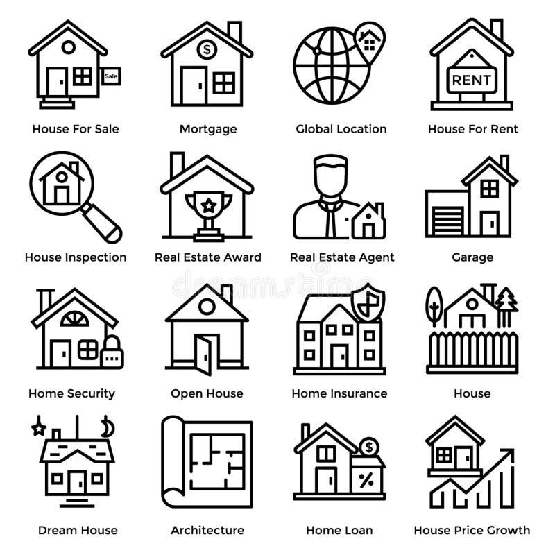 Real Estate-Lijnpictogrammen stock illustratie