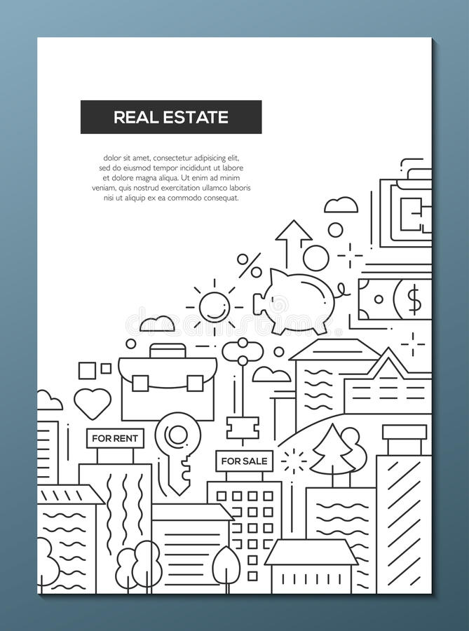 Real Estate Line Design Brochure Poster Template A Stock Vector - Template for selling a house