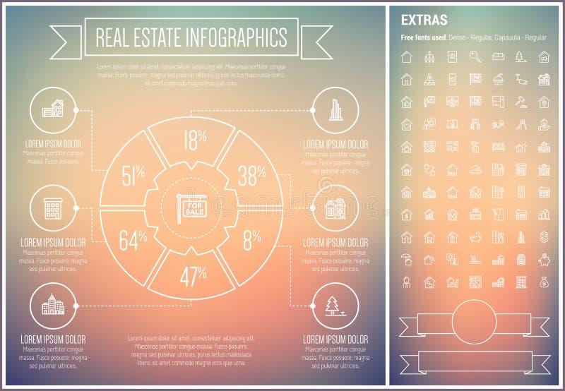 Real Estate Line Design Infographic Template royalty free illustration