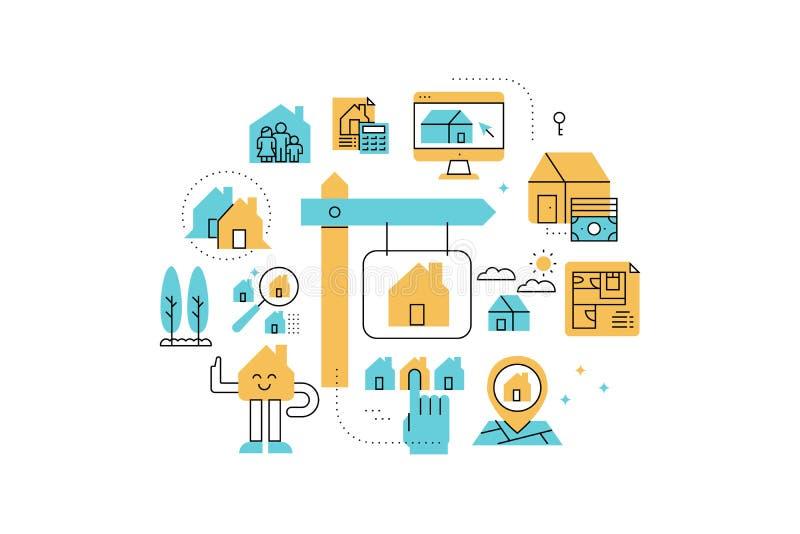 Real Estate line icons illustration stock illustration