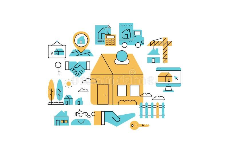 Real Estate line icons illustration vector illustration