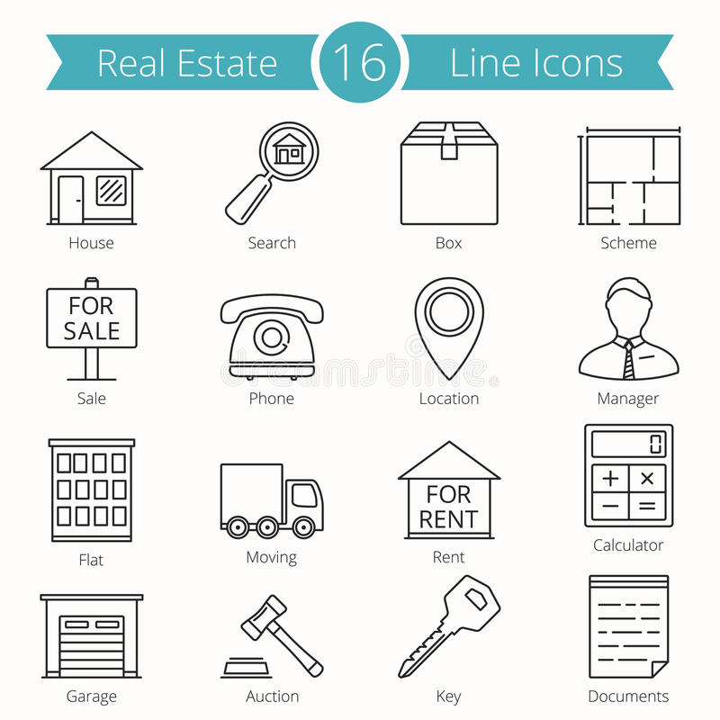 Real Estate Line Icons stock illustration