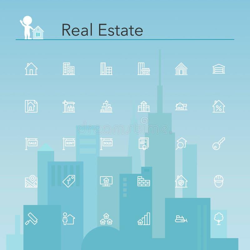 Download Real Estate Line Icons stock vector. Illustration of estate - 56899050
