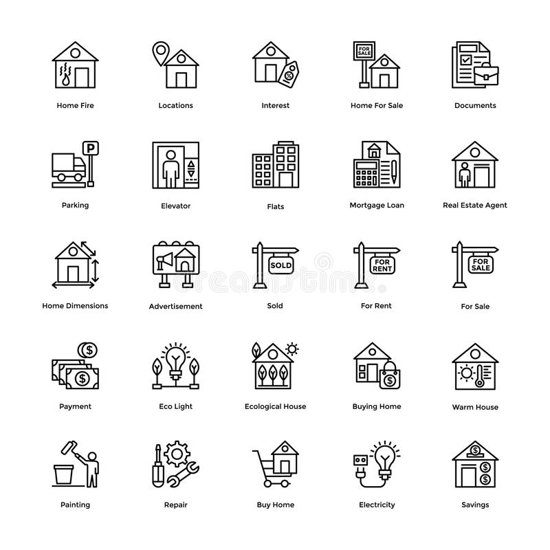 Real Estate Line Vector Icons Set 3. Here is a set of Real Estate Vector Icons to decorate your design projects related to houses, real estate and property stock illustration