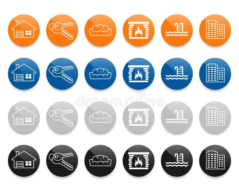 Real estate line vector icons set royalty free illustration