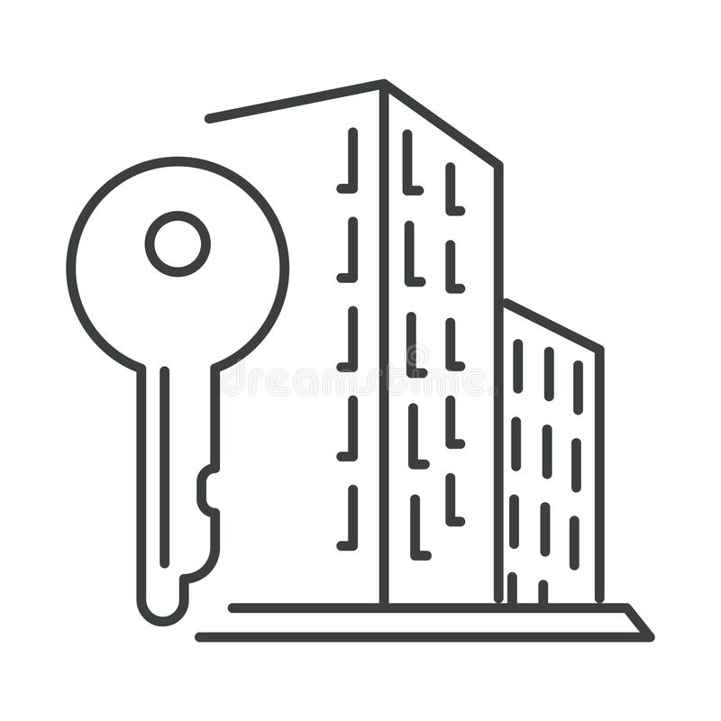 City apartment building and key isolated icon, real estate. Real estate linear symbol, city apartment house and key, construction isolated icon vector. Modern stock illustration