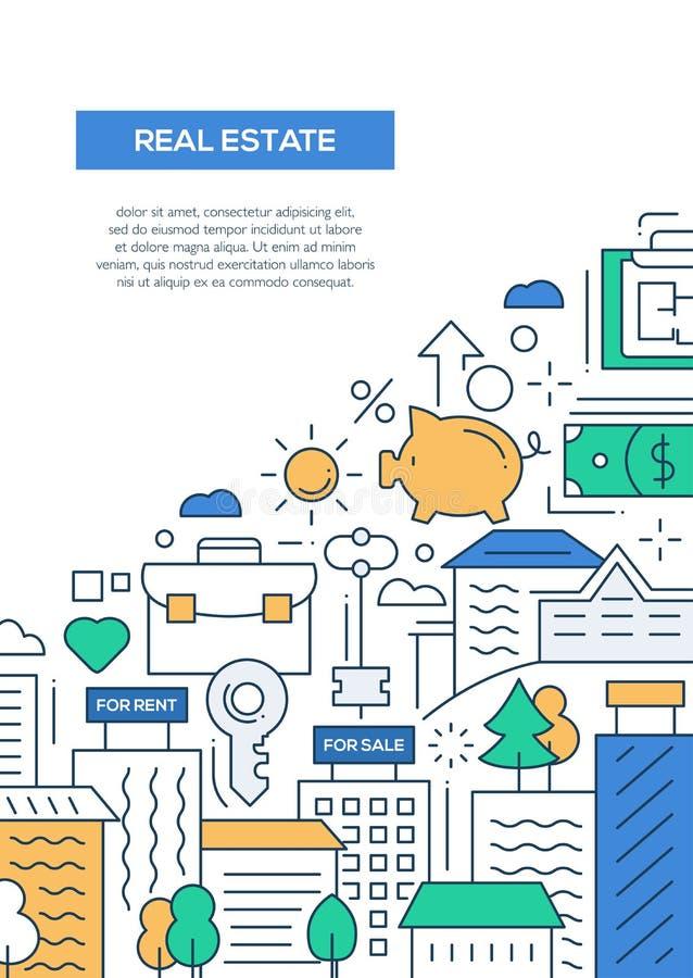 Real Estate - linha molde A4 do cartaz do folheto do projeto ilustração stock