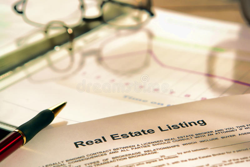 Real Estate Listing Contract on Realtor Marketing stock photo