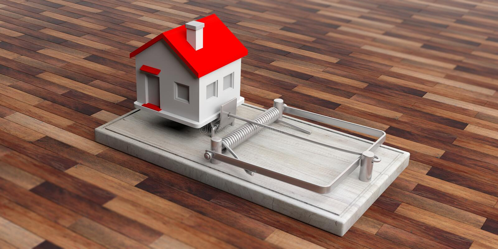 Real estate loan trap. House on a mouse trap isolated on wooden floor background. 3d illustration royalty free illustration