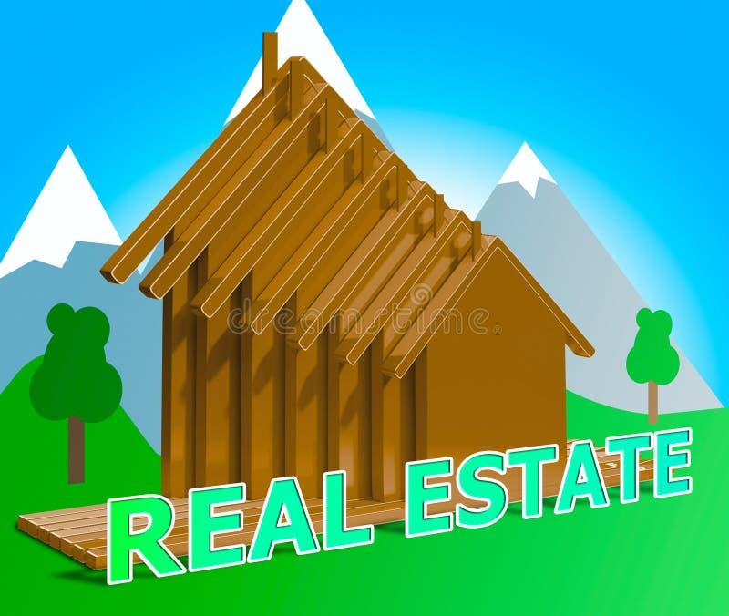 Real Estate loge l'illustration de la propriété 3d de moyens illustration stock