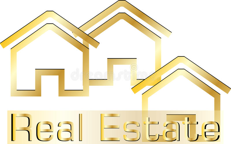 Real estate logo. Logo for Real Estate business cards or advertisement with gold houses and text on white background