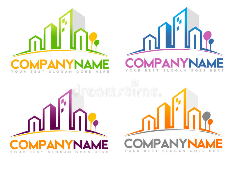 Real Estate logo stock illustrationer