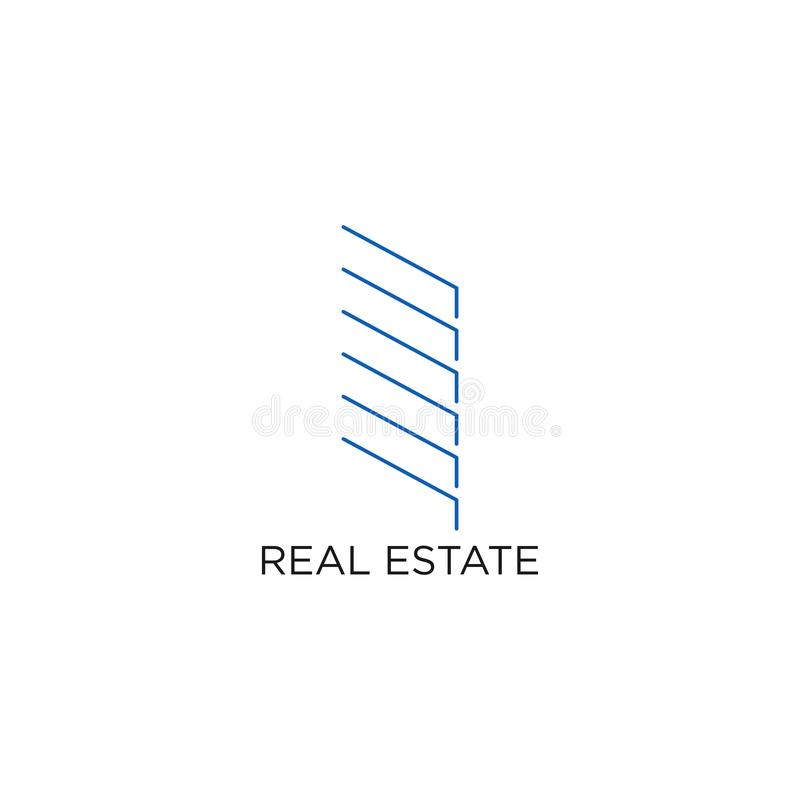 Real Estate logo, byggnad, eller hem, designvektor med linjen, linjärt, stil eller den mono linjen vektor illustrationer