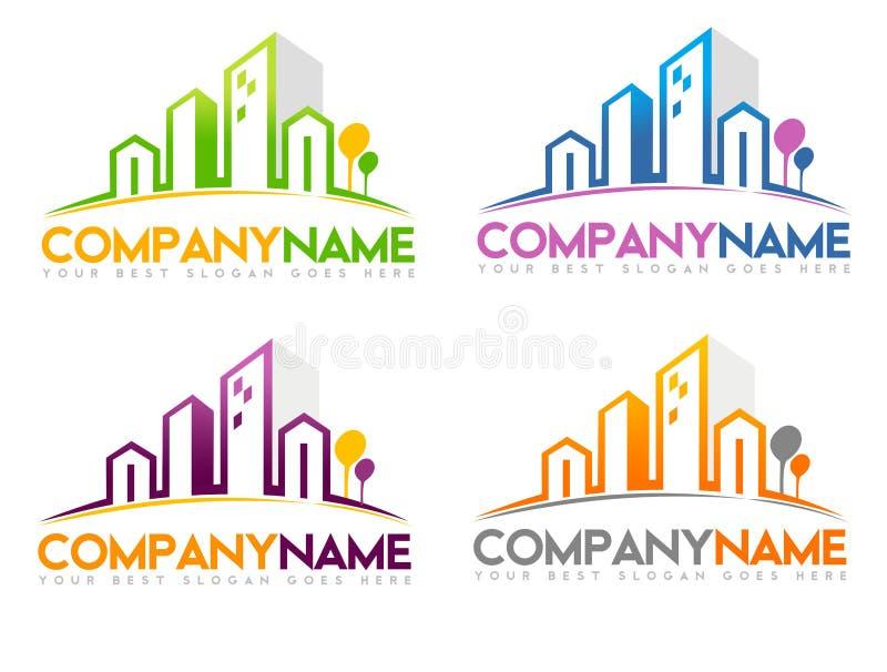 Real Estate Logo. Concept design in different colors combination stock illustration
