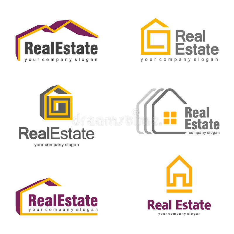 Real Estate Logo Design. Creative abstract real estate icon logo set vector illustration