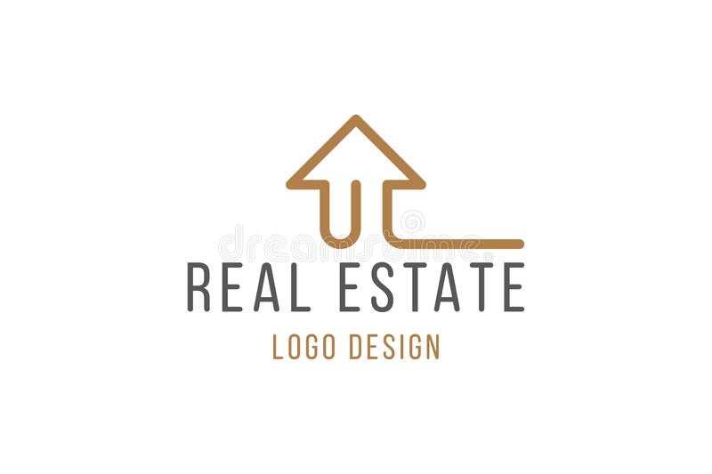 Real Estate Logo Design. Elegant Logotype with a silhouette of a building in line art style isolated on white background. Flat. Vector illustration EPS10 vector illustration