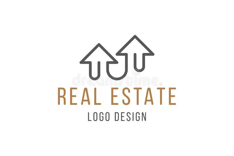 Real Estate Logo Design. Elegant Logotype with a silhouette of a building in line art style isolated on white background. Flat. Vector illustration EPS10 stock photo