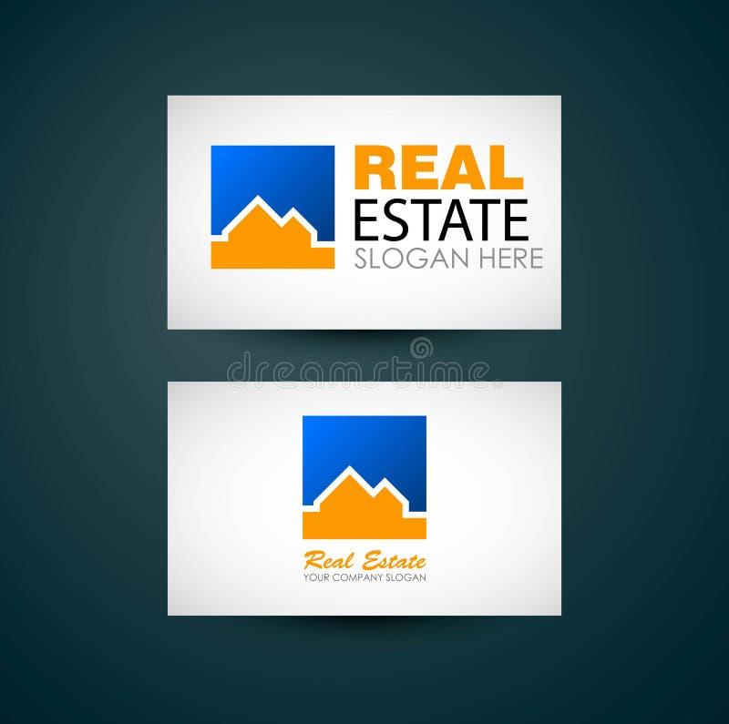 Real Estate Logo Design Empresa de negócio de Real Estate Logotipo da construção Projeto de cartão dos bens imobiliários ilustração do vetor