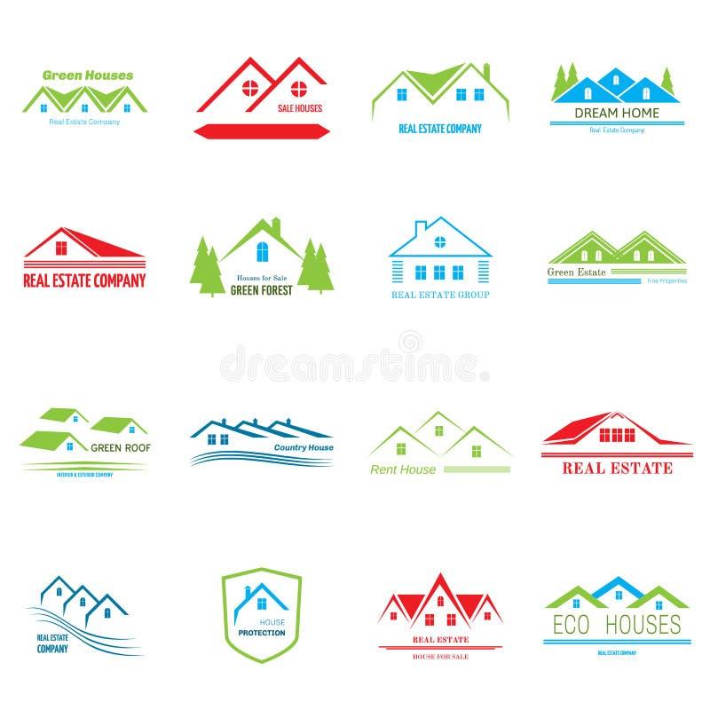 Real Estate Logo Design Iconos abstractos del concepto de la casa ilustración del vector