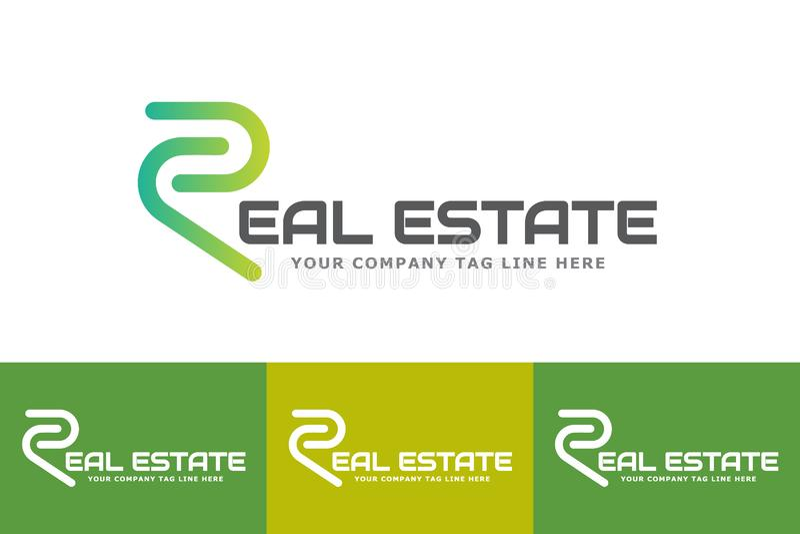 Real Estate Logo Design With Letter R ha isolato su fondo bianco illustrazione vettoriale