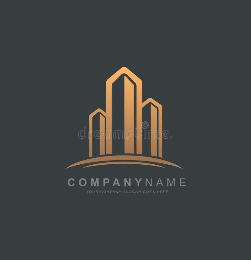 Real Estate Logo Design Logotipo da construção ilustração do vetor