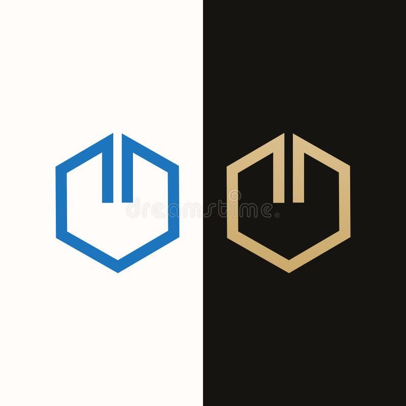 Real Estate Logo Design Sexhörningsform, lyxig modelogo, symbolsdesign vektor illustrationer