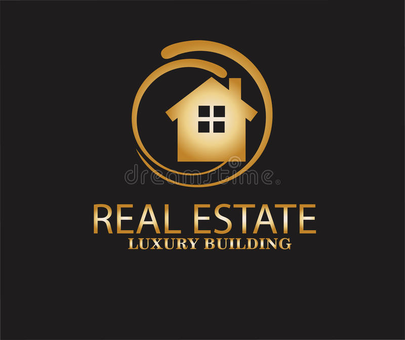 Real estate logo design vector. Isolated on black background vector illustration