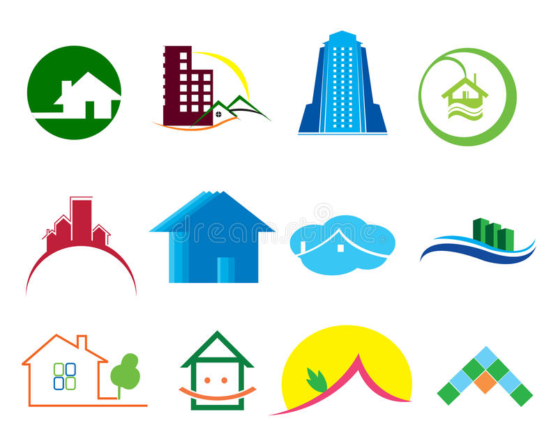 Real estate logo elements royalty free illustration